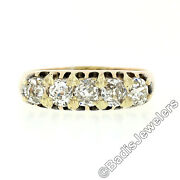 Antique Victorian 14k Rosy Yellow Gold 1.35ctw 5 Old Mine Cut Diamond Band Ring
