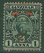 Zanzibar Sg 88 2andfrac12d On 1a Indigo And Red With Stop Variety Mh