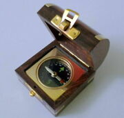 Nautical Marine Brass Magnetic Nautical Compass In Wooden Box Collectible Gift