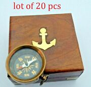 Antique Pocket Key Chain Compass With Wooden Box Gifted Item Free Ship