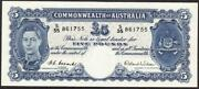 Australia R48 Andpound5 Five Pound Qe11 Coombs/wilson Uncirculated Banknote