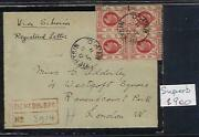 Hong Kong China Treaty Ports Gb. Registered Mourning Cover Tientsin To London.