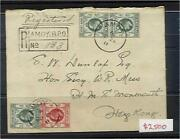 Amoy China To Hms Monmouth Hong Kong Registered Cover With Kevii 6 X 4c Grey