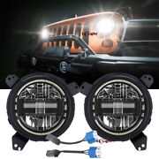 7 Round Led Headlights Angel Eyeand Brakects Combo For Jeep Wrangler Jl 2018-2021