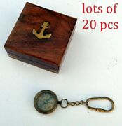 Nautical Brass Antique Compas Key Chain Vintage Key Ring With Wooden Box