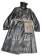 World War Ii Red Army НКВД Officer Leather Coat Hat.size L 50-52 Eu.