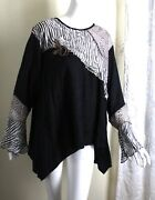 Spencer Alexis L Xl French Wearable Art Patchwork Rosette Blouse Shirt Top Lux