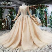 Lss531 Ball Gown Wedding Dress For Bride With Sleeves O Neck Lace Wedding Gowns