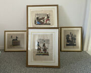 4 Pieces Of Egyptian Papyrus Hand Painted Framed Art.