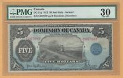 Dominion Of Canada 5 1912 Dc-21g Pmg-30 Vf Seal Only Hyndman-saunders Banknote