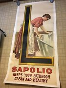 Huge Antique 3 Sheet Advertising Poster Sapolio Soap Victorian Woman L