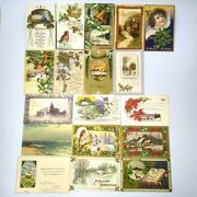Lot Of 18 Antique Christmas Postcards Seascape Reindeer Snow Cabins Church Angel
