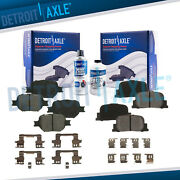 Front And Rear Ceramic Brake Pads With Hardware Kit For 2005-2010 Scion Tc