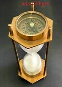 Vintage Maritime Brass Hourglass Antique Both Side Compass Sand Timer