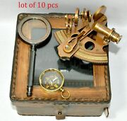 Nautical Brass Sextant Leather Case With Magnifier+compass Gift Free Shipping