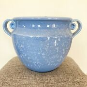Ethan Allen Ceramic Large Planter Vase Italy Blue And White With Handles