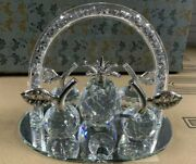 New Mirrored Glass Fruit Tray Crystal Mesh Ornament Decorative Crushed Diamond