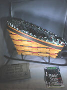 Longaberger Large Holiday Sleigh Basket W/ Runners, Holly Liner And Protector 1997