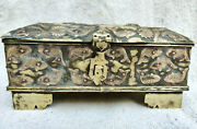 18c Antique Handmade Royal Brass Gamble Box Coin Chest Fish Flower All Over Box