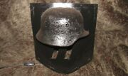 Original-authentic Ww2 Wwii Improvisation Wall Sconce Lamp Shield And Helmet