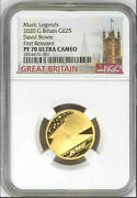 2020 Uk Music Legends David Bowie Andpound25 1/4oz Gold Proof Ngc Pf70 Uc First Release