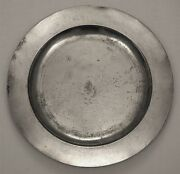 George Ii Antique English Pewter 22in Plain Rim Charger, Unusually Large Size.