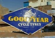 1920and039s Old Vintage Rare Double Sided Goodyear Tyres Porcelain Enamel Sign Board