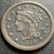 1850 Large Cent Braided Hair One Cent 1c Better Grade Vf Details 29024