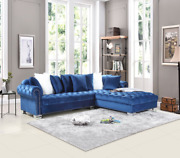 New Contemporary Blue Velvet Sectional Sofa W/ Accent Pillows Luxurious And Modern