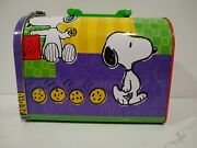 Vintage Snoopy And Cookies Mailbox Lunch Box Metal Tin Peanuts Cartoon 8 X 4 X 6