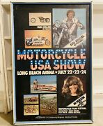 Evel Knievel Framed Poster Advertisment Motorcycle Show 70s Rare Harley Davidson