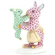 Herend Mother Bunny With Child Figurine Key Lime And Pink