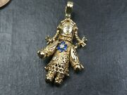 Vintage 9ct Gold Blue And White Sapphire Articulated Rag Doll Pendant C.1990