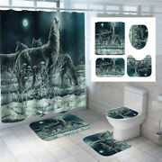 3d Snow Wolf Bathroom Shower Curtain Animal Bath Mat Toilet Cover Rug Decor Set