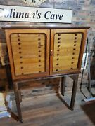 Antique Victorian Bank Of Drawers Original Apothecary Solid Oak And Key 20 Drawers