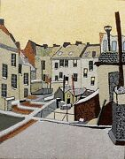 Backyards Of Old Houses In Antrerp Acrylic On Wood By Michael Byro
