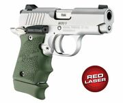 Hogue Red Laser Enhanced Grip For Kimber Micro 9 Ambi Safety Black Rubber 39061