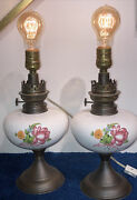 Antique Converted Kerosene Oil Lamps Matched Country Cottage House Pair