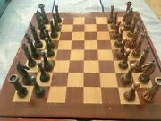 Chess Metal Brass Copper Wooden Board Handmade Vintage Gift Amazing Rare Vtg Old