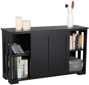 Yaheetech Buffet Sideboard With Sliding Door And Adjustable Shelf Stackable Cabi