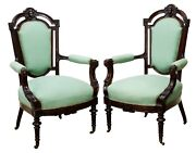 Antique Armchairs Parlor Victorian Pair Two 2 John Jelliff Style 1800and039s