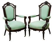 Antique Armchairs Parlor Victorian Pair Two 2 John Jelliff Style Chairs