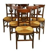 Chairs Dining French Lyre 6 Six Back Rush Seat Vintage Fruitwood Finish