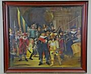 Antique Painting Oil 1800and039s Dutch Dignitaries The Night Watch Signed