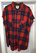 Fear Of God Purpose Tour Barneys Ny Brushed Flannel Shirt Red Plaid Size Xl