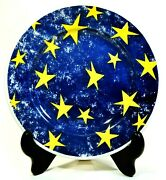 Set Of 5 Churchill Pier1 Angleterre Blue 8 1/8 Salad Plate Yellow Stars Cch14
