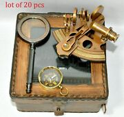 Nauticalbrass Collectable Sextant Leather Case With Magnifier+compass Gift