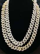 Yellow Gold Plated 925 Sterling Silver Natural Moissanite Cuban Chain 20 Inch