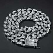 Beautiful White Gold Plated 925 Sterling Silver Moissanite Cuban Chain 22 Inch