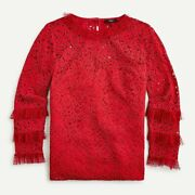 J Crew Au229 Nwt Woman's Size 3x Stunning Red Lace Top W/ Tulle Ruffle /cami 94